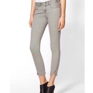 Free People Gray Herringbone Cropped Ankle Jeans